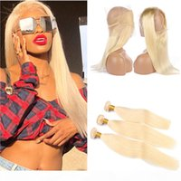 Russian Blonde Human Hair 3Bundles and 360 Closure Pre Pluck...