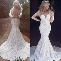 Full Lace Mermaid Wedding Dresses Bridal Gown with Long Sleeves Sweep Train Tulle V Neck Sexy Illusion Back Custom Made Plus Size Garden Vestido de novia