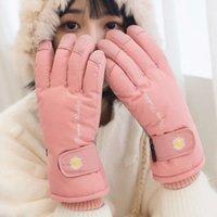 Mesdames Mitaussiers Peluche Peluche Belle hiver Chaud Equitation Gants Coréen Face Cinq doigts