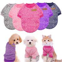 Cães de malha jaquetas chihuahua cão vestuário filhote de cachorro pano de pano inverno jaqueta jaqueta casaco macio camisola roupas para pequenos gatos pug yorkies wy1266