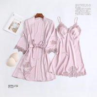 Women's Sleepwear Pink Flower 2pcs Robe Set Sexy Intimate Lingerie Women Kimono Bathrobe Gown Waistband Nightdress Homewear Lace Twinset