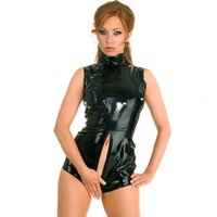 Casual Dresses Plus Size Black Latex Wet Look Bodycon Catsuit Sexy Faux Leather Bodysuit Erotic Costume PVC Jumpsuit Zipper to Crotch Clubwear