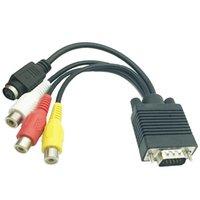 VGA к кабелю 3RCA, Sub-D (VGA) - Видео TV OUT S-Video AV Адаптер RCA Женский конвертер Кабели