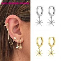 Aide 925 Silver Heart Moon Star Boho Gold Crystal Pearl Earrings Cross Geometric Feather Female Earring Vintage Fashion Jewelry Hoop & Huggi