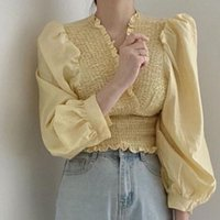 Women's Blouses & Shirts Korean Chic French Court Style Vintage Blouse Women V-neck Puff Sleeve Wood Ear Edge Sweet Slim Waist Folds Blusas