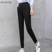 Pantalons Femmes Simple Loisirs Style coréen Straight All-match Student Mode élégant Femme Pantalons Poches Poches Solide Qualité Haute Qualité Femmes Capr