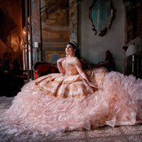 Vestidos De 15 Anos Puffy Tiered Skirts blush Pink Beaded Quinceanera Dress Off Shoulder lace-up corset Sweet 16 Dress Bridal Gowns