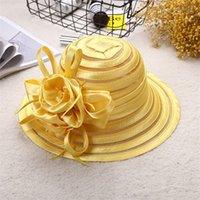 Fashion Adult Flower Design Travel Women Sun Hat Wide Brim Outdoor Fishing UV Protection Summer Caps Bridal Wedding Gift Beach J0226 290 Q2