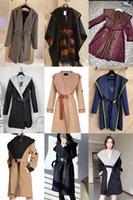 Wol CBRAND Designer Jassen Damesjack Herfst Lang bedrukt Wollen Materiaal Hooded Cloak Coat Modieuze Wrap-Round Two-Color Plus Size Dames Dames Kleding S-2XL