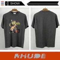 Short Rhude Fashion Brand Sleeve T-shirt Hip Hop Rap Rhude Loose Short Sleeve T-shirt Men And Women Fashion Handsome wholesale