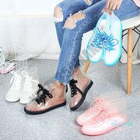 Fashion transparent water shoes rain shoes for woman plastic Flats bottom Heeled Middle Tube Rain Boots Waterproof non-slip Water Shoe