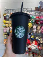 Starbucks 24oz / 710 ملليلتر البلاستيك بهلوان قابلة لإعادة الاستخدام الأسود شرب شقة أسفل كوب عمود شكل غطاء القش القدح 1
