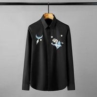 Solid Color Mens Shirts Luxury Flyer Embroidery Long Sleeve ...