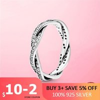 Cluster Rings 2021 925 Sterling Silver Sparkling Twisted Lines Ring For Women Clear CZ Wedding Engagement Zircon Jewelry Gift