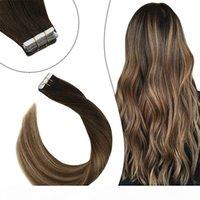 Ruban droite dans les extensions de cheveux humains ombre mettre en évidence couleur PU brésilien Remy Extensions de cheveux 14-14 pouces