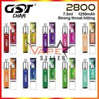 정통 GST CHAM 일회용 vape 펜 전자 담배 키트 1250mAh 배터리 7.5ml 포드 2800 퍼프 기화기 장치 vs randm dazzle