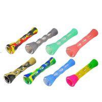 Silicone Smoking Pipe Glass Bongs 3.4 inches Cigarette Hand Pipes Portable Mini Tobacco Cigarettes Holder BWA7474
