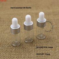 Wholesale 100pcs Lot Glass 3ml Essential Oil Bottle Matte Silver Small 1 10OZ Container Perfume Dropper Vial Women Cosmetic Pothood qty