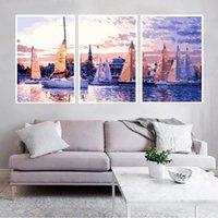 PC / Set Frame Seaside Paesaggio Pittura fai da te per numero Moderna vernice acrilica su tela per la decorazione domestica 40x50cm dipinti