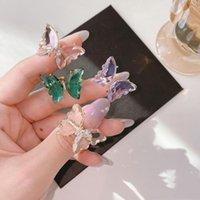 女性のためのヴィンテージのガラス結晶の蝶のためのヴィンテージのガラスクリスタル蝶のための輝く調節可能な開いている指の結婚式のパーティージュエリーギフト