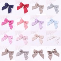 Cotton Linen Bow Hairpins Solid Color Long Tail Bowknot Hair Clip Holder Hairgrips Duckbill Clip Girls Barrettes Rope Headdress