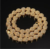 Mens 10mm 18K Real Gold Cluster Chain Necklace 18inch 20inch Hiphop Necklace gifts Jewelry