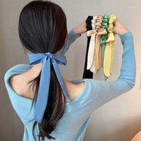 Haimeikang Elastic Satin Scrunchies For Women Bow Hair Rope Girl Ponytail Ties Rubber Bands Korean Sweet Accessories1
