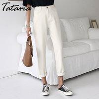Tataria Jeans Harem für Frauen Lose Vintage Harem Beige Womens Jeans Hosen Hohe Taille Baumwolle Jean Weibliche Freund Denim