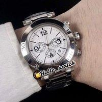 42mm Pasha de W31089M7 Relojes Blanco Dial Miyota Cronógrafo Cronógrafo Hombre Reloj Cronómetro Stropeador Acero inoxidable Pulsera HWCR HELLO_WATCH