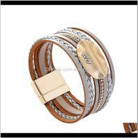 Bracelets Jewelryfashion Elegant Women Bracelet Charms Gold Oval Leaf Multilayer Leather Wrap Jewelry Bohemia Tennis Drop Delivery 2021 Vofxb