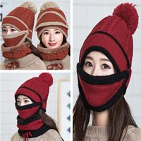 Hats, Scarves & Gloves Sets Women Winter Beanies Knitted Thickened Hat With Warm Mask And Neck Scarf