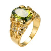 New Fashion Male Peridot Oval Finger Ring Luxury Big Crystal Zircon Stone 14KT Yellow Gold Promise Engagement For Men