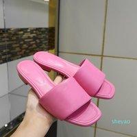 Fashion flat heel summer slippers women solid color embossed real leather designer slides sandals 9 colors 0117