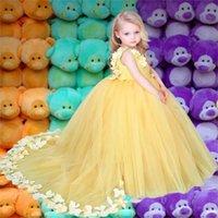 Sarı tül çiçek kızların elbiseler el yapımı çiçekler ile pageant bebek kız parti giymek prenses ilk cemaat törenleri