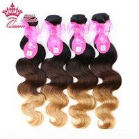 الملكة منتجات الشعر جديد وصول أومبير اللون 1b # 4 # 27 ثلاثة لهجة العذراء البرازيلي شعر الجسم موجة أومبير الشعر 4 قطع الكثير