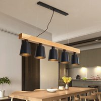 Modern Pendant Lights Wood LED Kitchen Lamp Dining Room Hanging Ceiling Lamps Lighting Fixtures For Long Table
