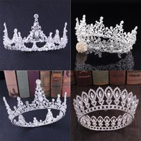 Baroque Royal Queen Crown Gold Blue Red Crystal Rhinestone Stone Wedding Tiara for Women Costume Bridal Hair Accessories