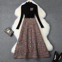 Два куска платья женщины зимний набор черные вязаные пуловеры + a-line длинные твидные юбки жемчуги одиночная грудная клетчатая юбка костюм 2021
