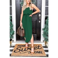 Party Dress For Holiday Solid Color Split Evening Summer Woman Elegant Boho Sexy Kawaii Clothes Knitted Ladies Vintage Dresses Casual