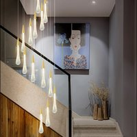Золотой Chandeleir Современные светодиодные люстры Лампа крытое освещение для гостиной лофт хрустальная лестница люстры повесить свет