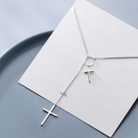 Sterling Sliver 925 Moda Prosty Duży Samll Cross Geometryczny Okrągły Łańcuch Naszyjnik Dla Kobiet Fine Jewlry Girl Gift 210707