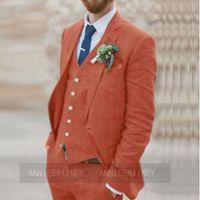 Men's Suits & Blazers Latest Designs Brown Wedding Groom Suit Set Men Jacket Vest Pants 3 Pieces Slim Fit 2021 Formal Marriage Beach Tuxedos