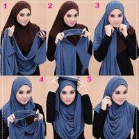 Cycling Caps & Masks 2021 Muslim Double Loop Chiffon Hijab Scarf Femme Musulman Wrap Head Scarves Islamic Headscarf Malaysia Female Foulard