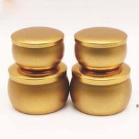 Frascos de vela perfumados de plata de oro de plata vacía de hojalata de lata de té hecho a mano de bricolaje Caja de almacenamiento de accesorios de mesa de caramelo con tapa DHA5145