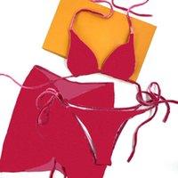 Moda Três Pedaço Set Swimwear Têxtil Verão Vintage Impresso Mulheres Banhando Terno Simples Sexy Backless Beach Swimsuit