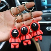 The Squid Game Keychains Red PVC Key Chain Wholesale Circular Square Triangle 3 Designs Masked Man Squid Game Peripheral Topic Accessories