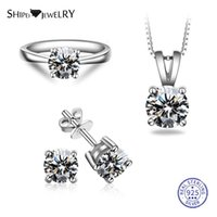 Shipei 100% 925 Sterling Silver Jewelry Set White Gold 7 Color Sapphire Engagement Pendant Necklace Stud Earrings Ring For Women Bracelet, &