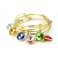Heart 12 Birthstone Charm Bracelet Gold Wire Adjustable Expandabel Bangle Bracelets Wrist Band Wrap ring for Women Girls Fashion Jewelry Will and Sandy