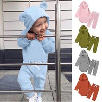 Clothing Sets Fashion Born Infant Baby Boys Girls Long Sleeve Solid Colors Hooded Romper Bodysuit Tops+Pants Two Piece Outfits Sets#g4