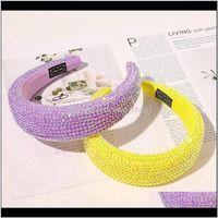 Luxuoso hairband cristal hoops diamante acolchoado desenhista headband bling rhinestone mulheres cabeça varas meninas acessórios de cabelo 50 pcs giol syic5